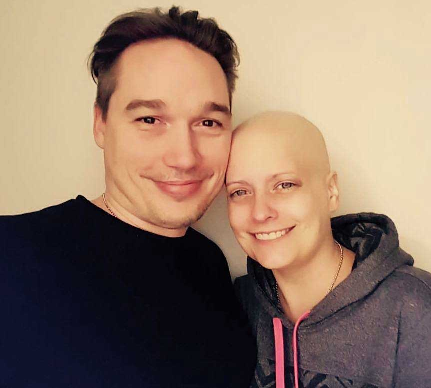 Brooke and her husband days after her chemotherapy