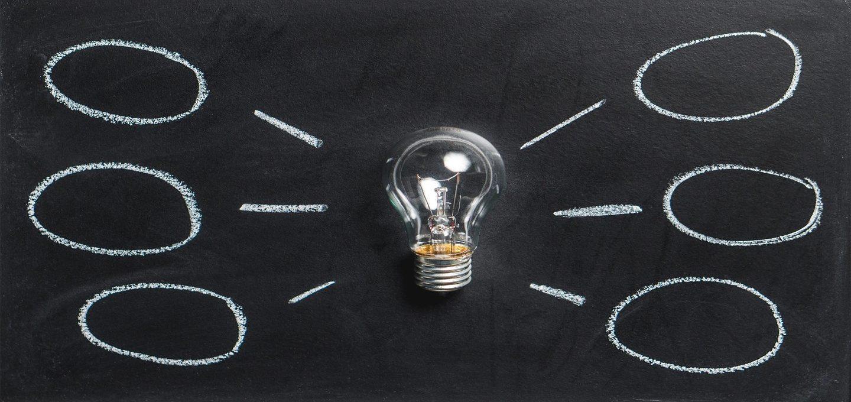 Photo of a lightbulb and ideas