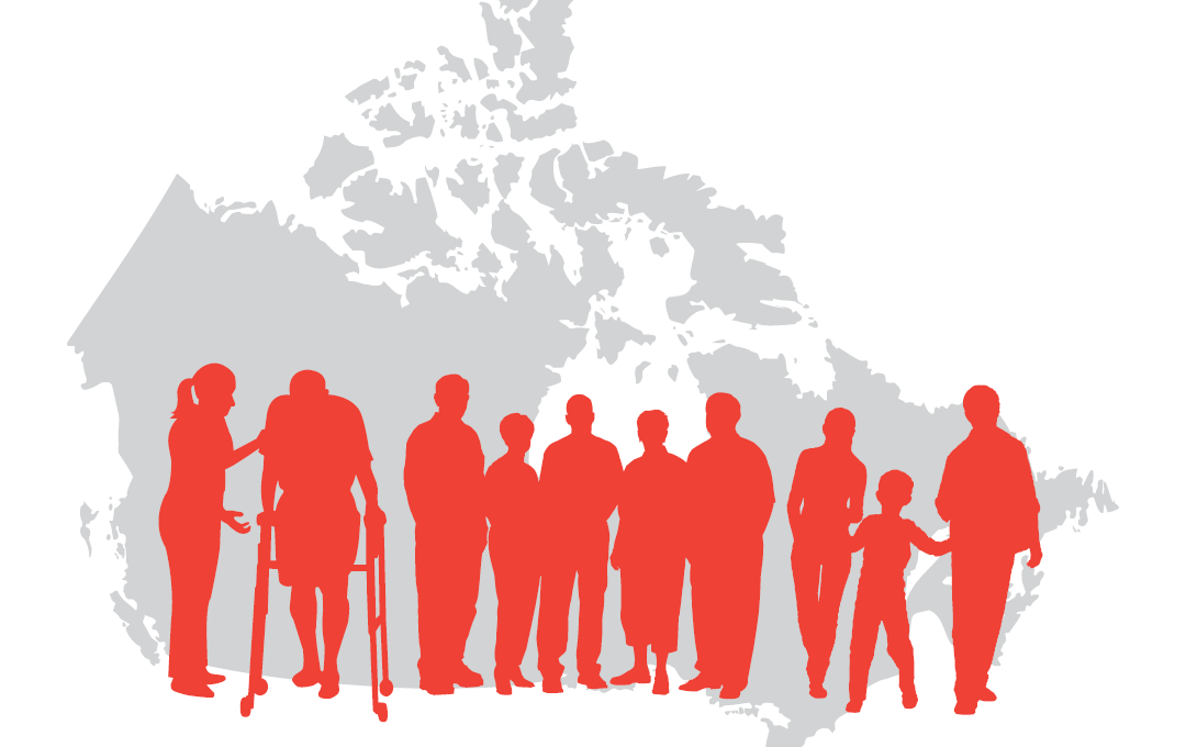 People living with MS standing in front of a Canada map