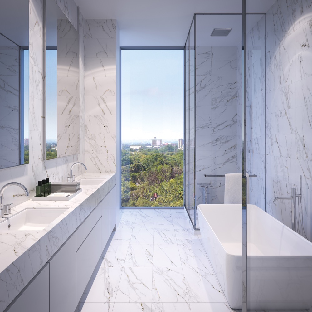 Bathroom with view over greenery at 346 Davenport Condos