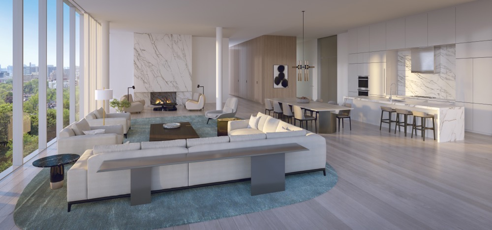 Expansive living room and kitchen at 346 Davenport Condos