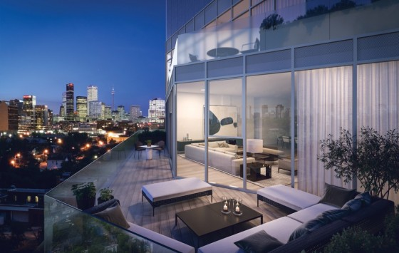 View in the evening of a large terrace at 346 Davenport Condos