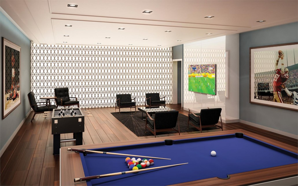Billiards room at Blue Diamond Condos