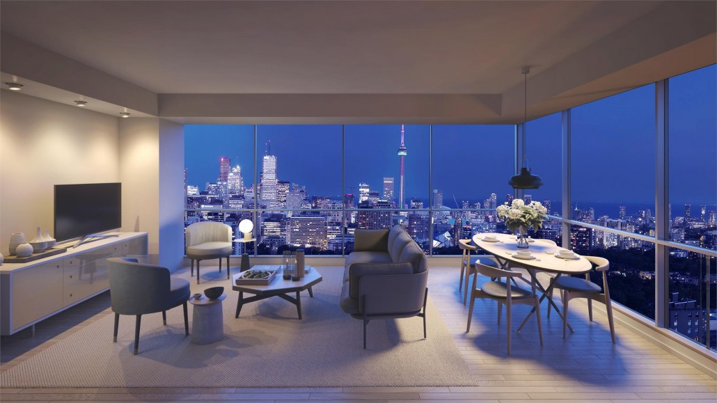 Living room and kitchen rendering with a view of Downtown Toronto at Blue Diamond Condos