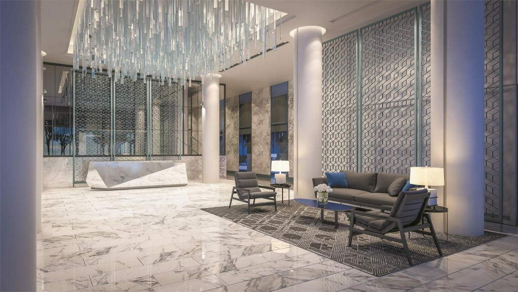 Lobby rendering at Blue Diamond Condos