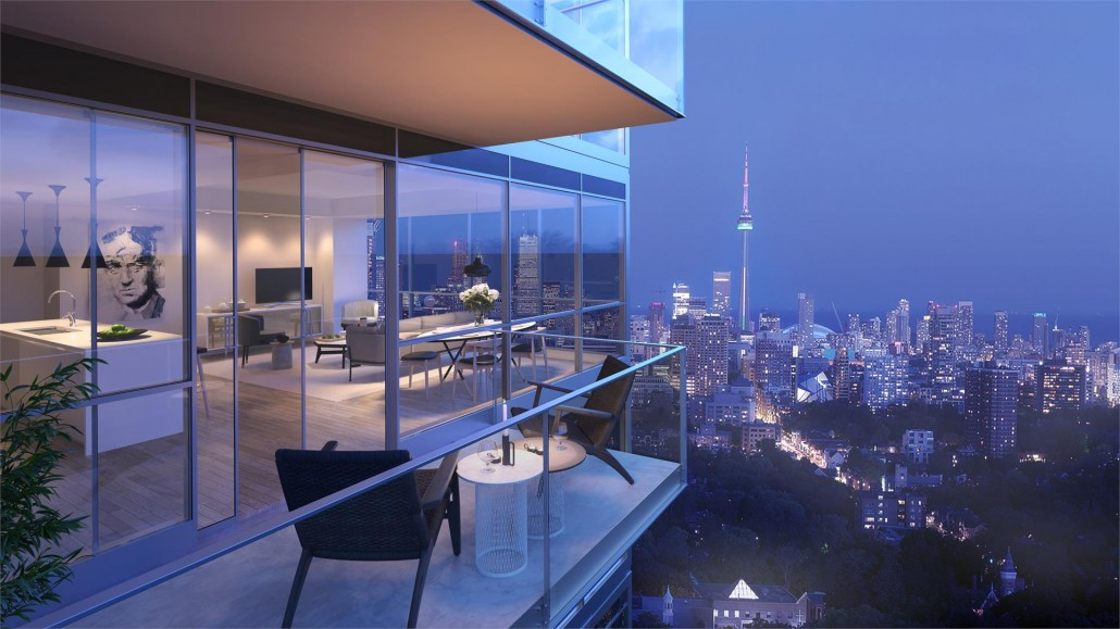View of Downtown Toronto from a balcony at Blue Diamond Condos
