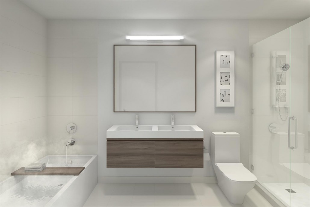 Calming bathroom rendering at Blue Diamond Condos