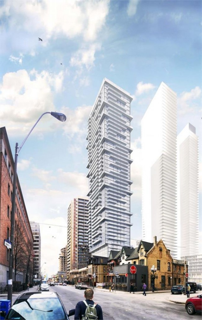 Exterior rendering of Church and Charles Condos