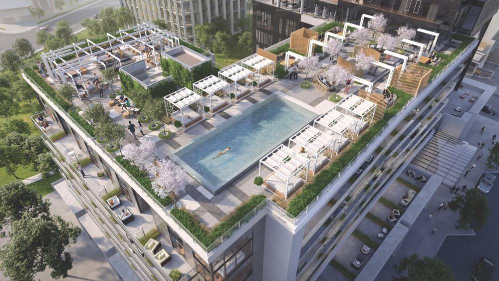 Aerial view of the rooftop amenities at Rodeo Drive Condos