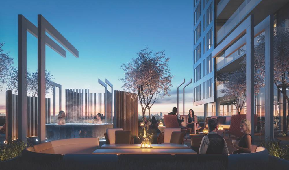 Rooftop amenity in the evening at Rodeo Drive Condos