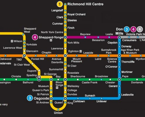 Map of what the TTC Subway map might look like in 2035