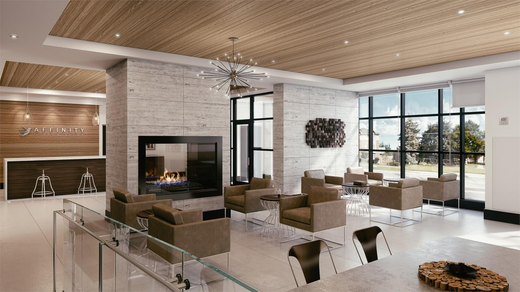Lounge rendering at Affinity Condos