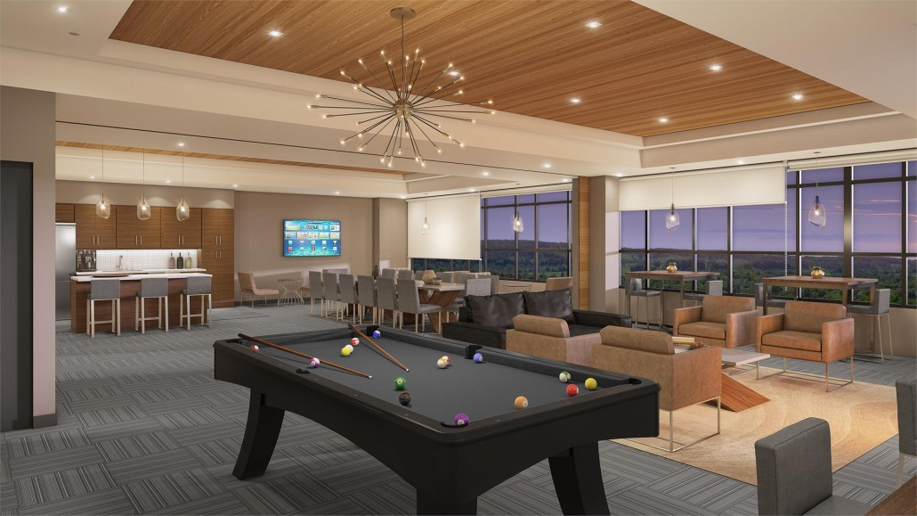 Party room rendering at Affinity Condos