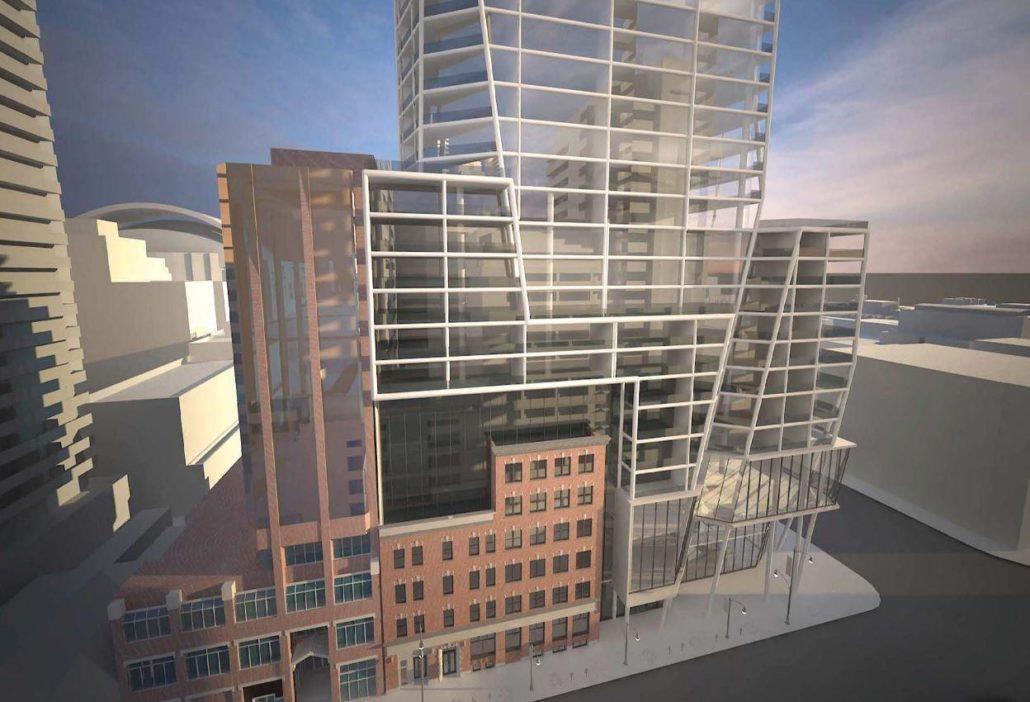 Podium rendering at 401 King Street Condos