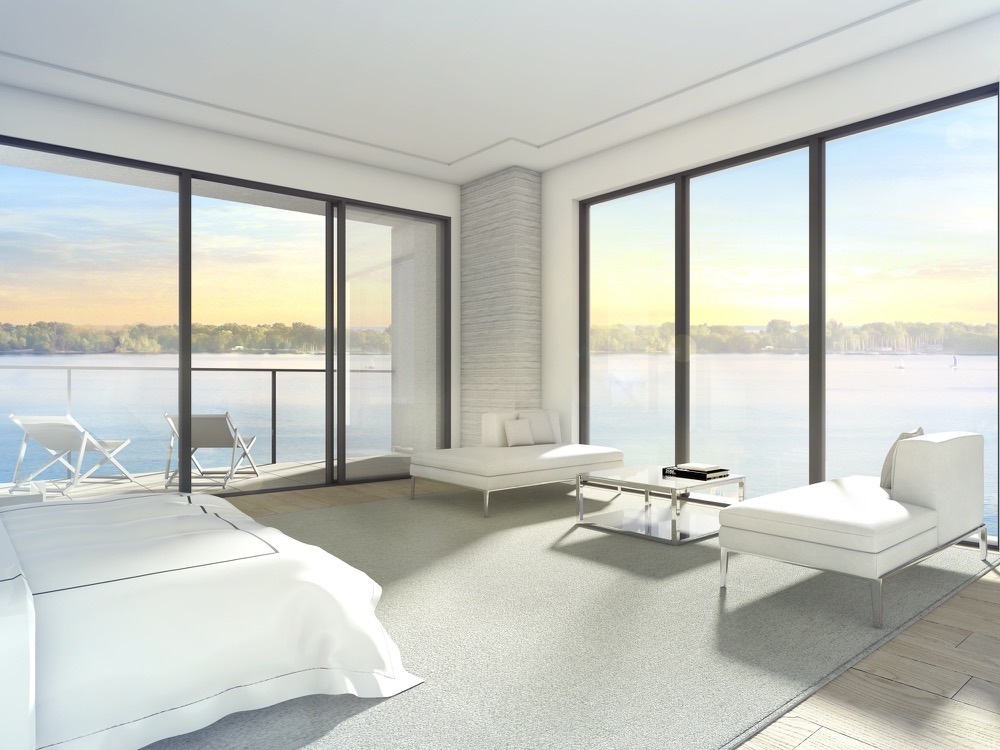 Bedroom rendering overlooking Lake Ontario at Aquabella Condos