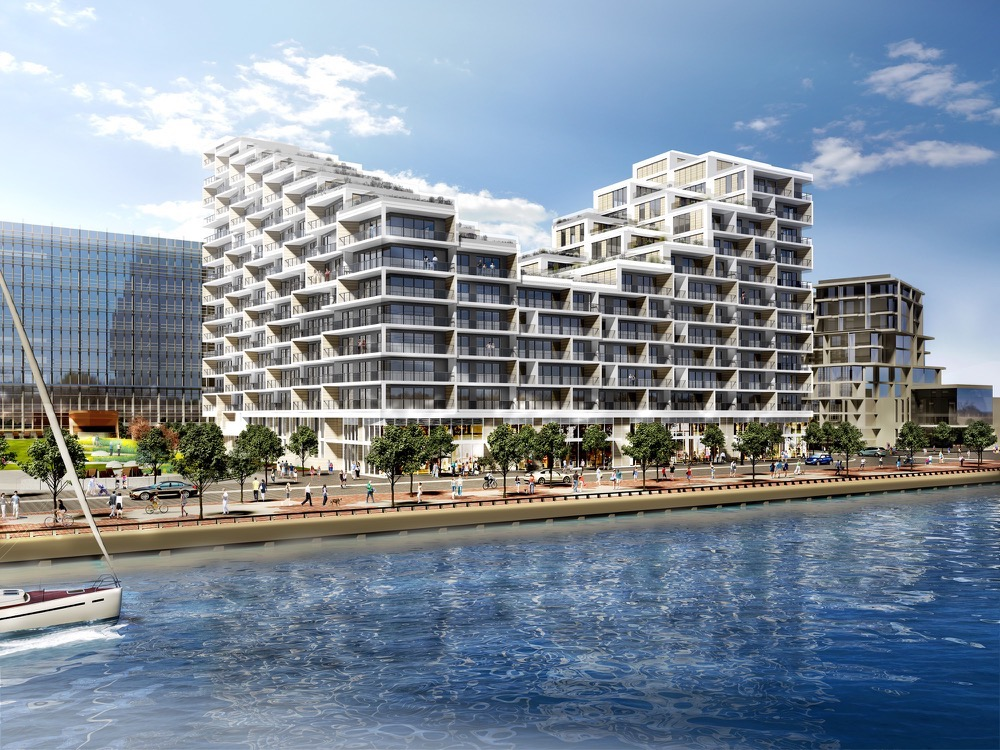 Exterior rendering of Aquabella Condos
