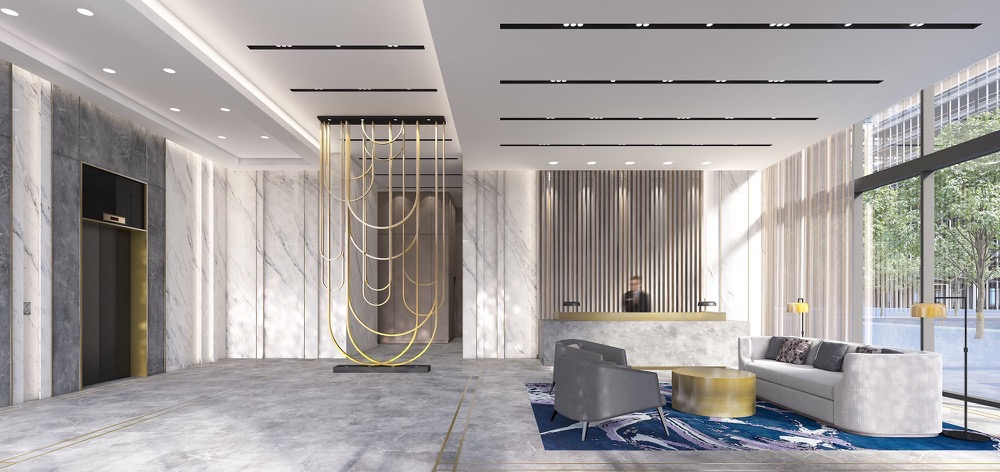 Lobby renering for Aquabella Condos
