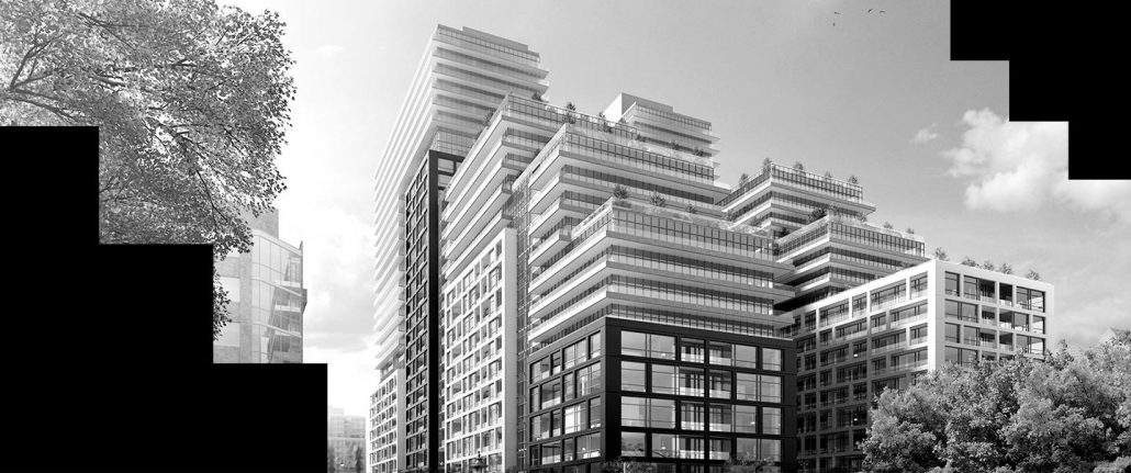 Time and Space Condos Exterior in Black & White