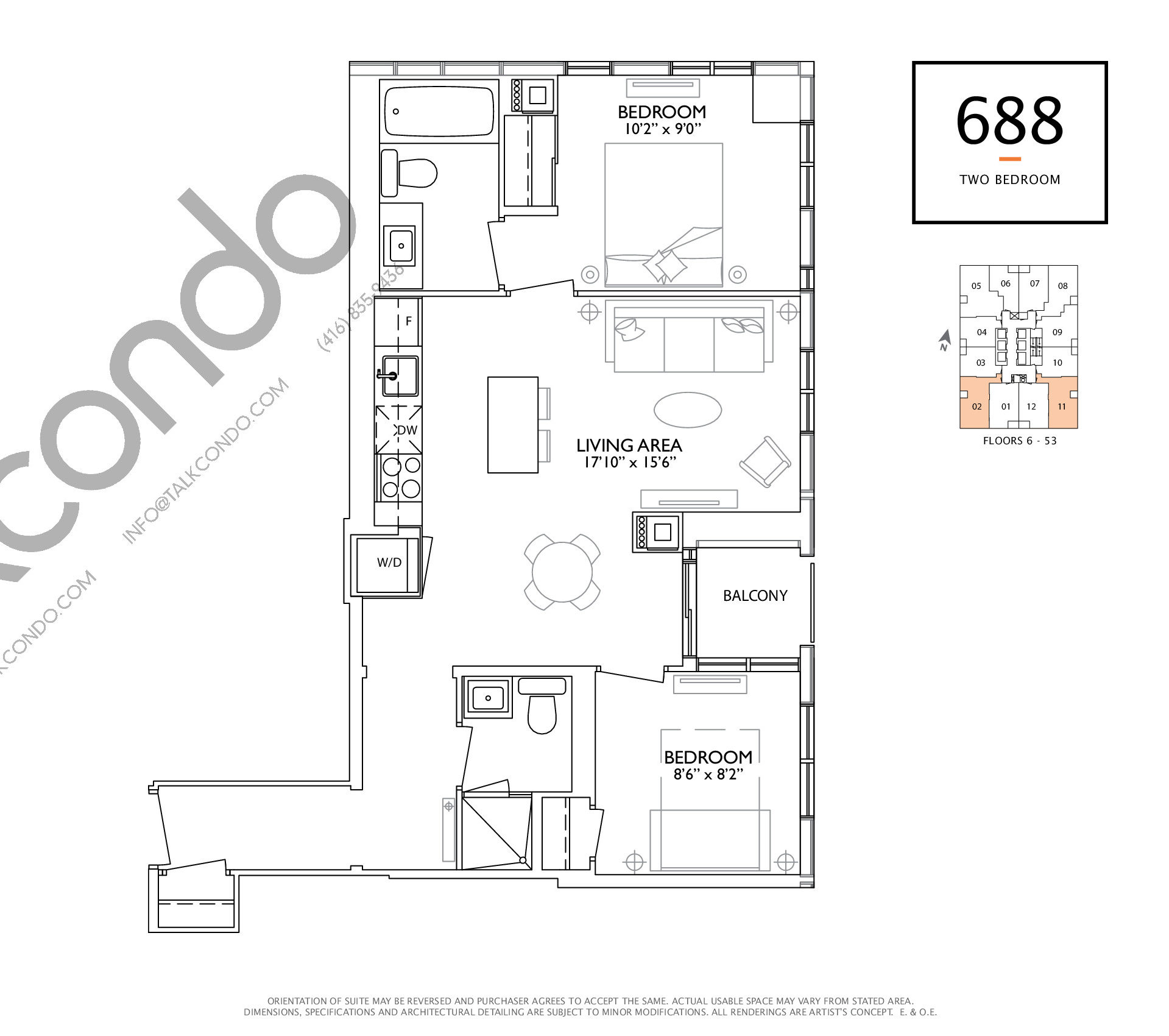 688 Floor Plan at 1 Yorkville Condos - 688 sq.ft