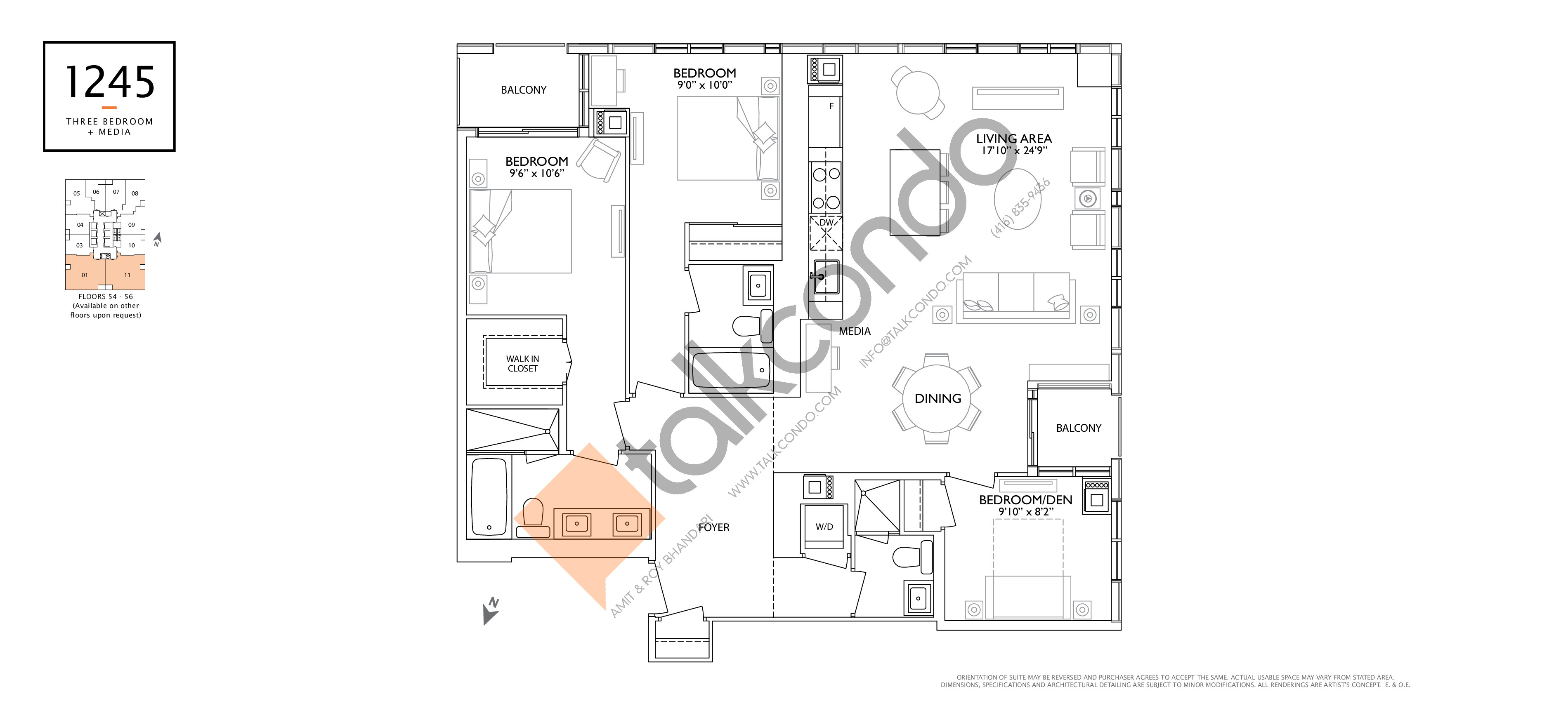 1245 Floor Plan at 1 Yorkville Condos - 1245 sq.ft
