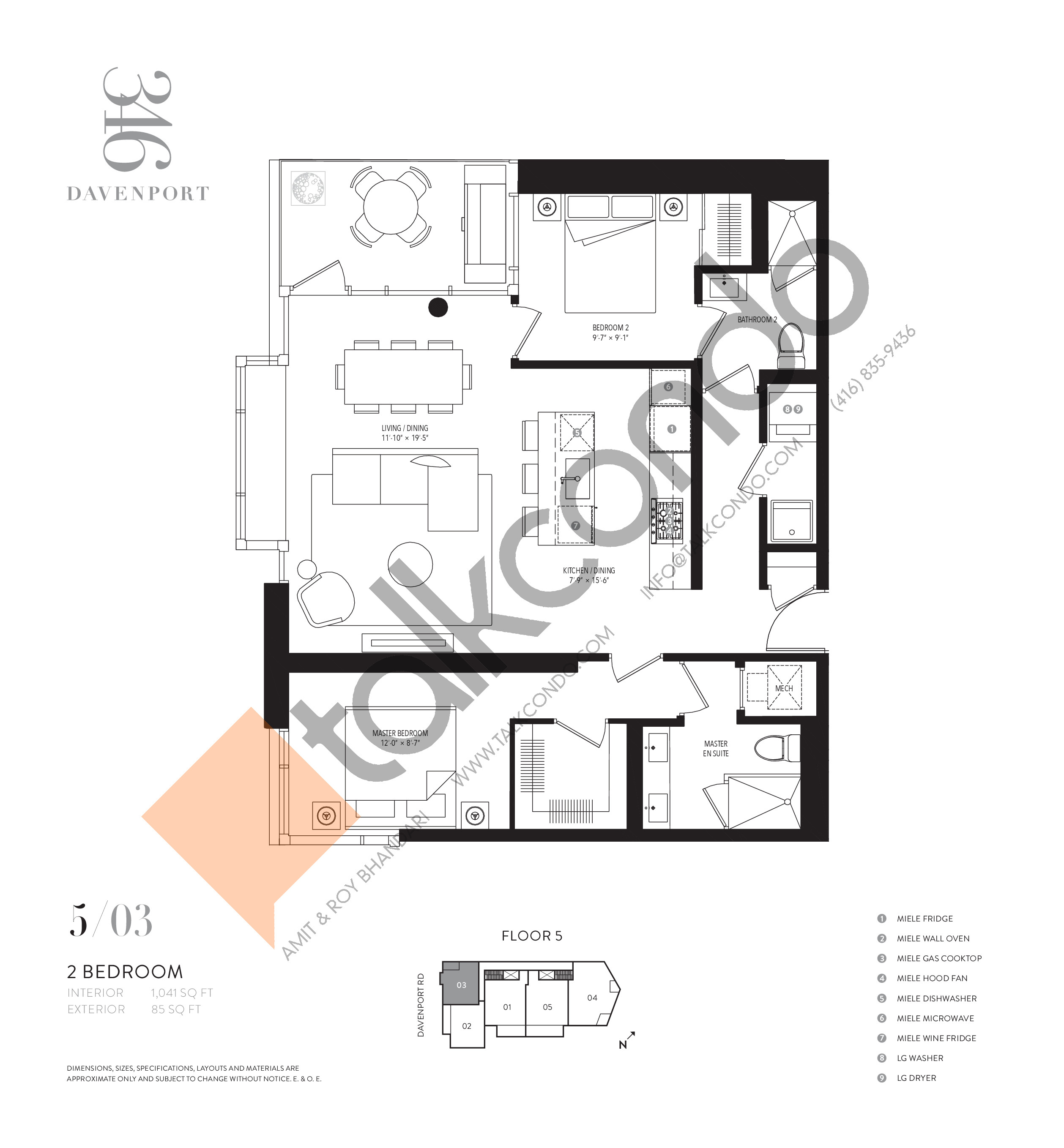 503 Floor Plan at 346 Davenport Condos - 1041 sq.ft