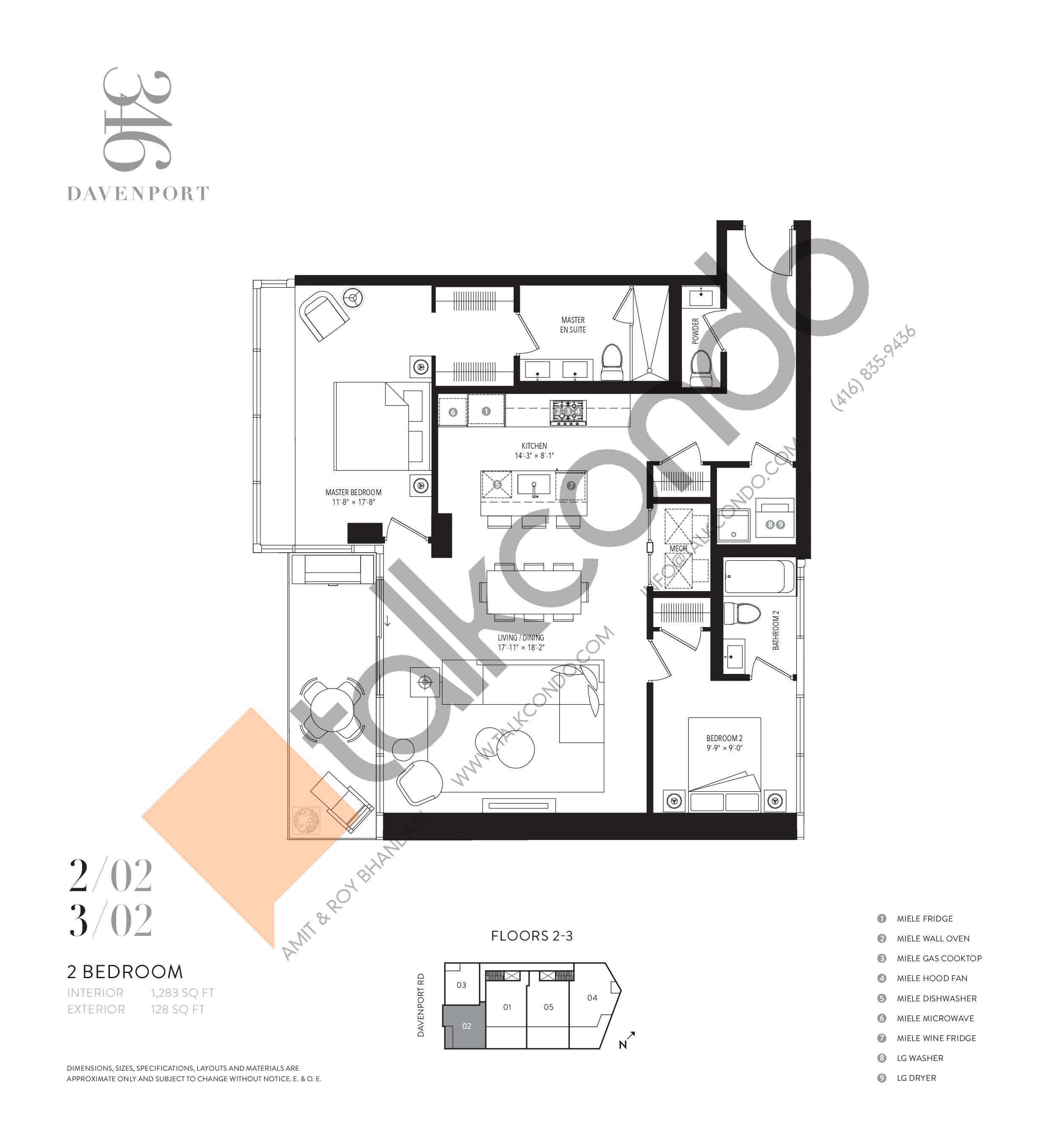 202 Floor Plan at 346 Davenport Condos - 1283 sq.ft