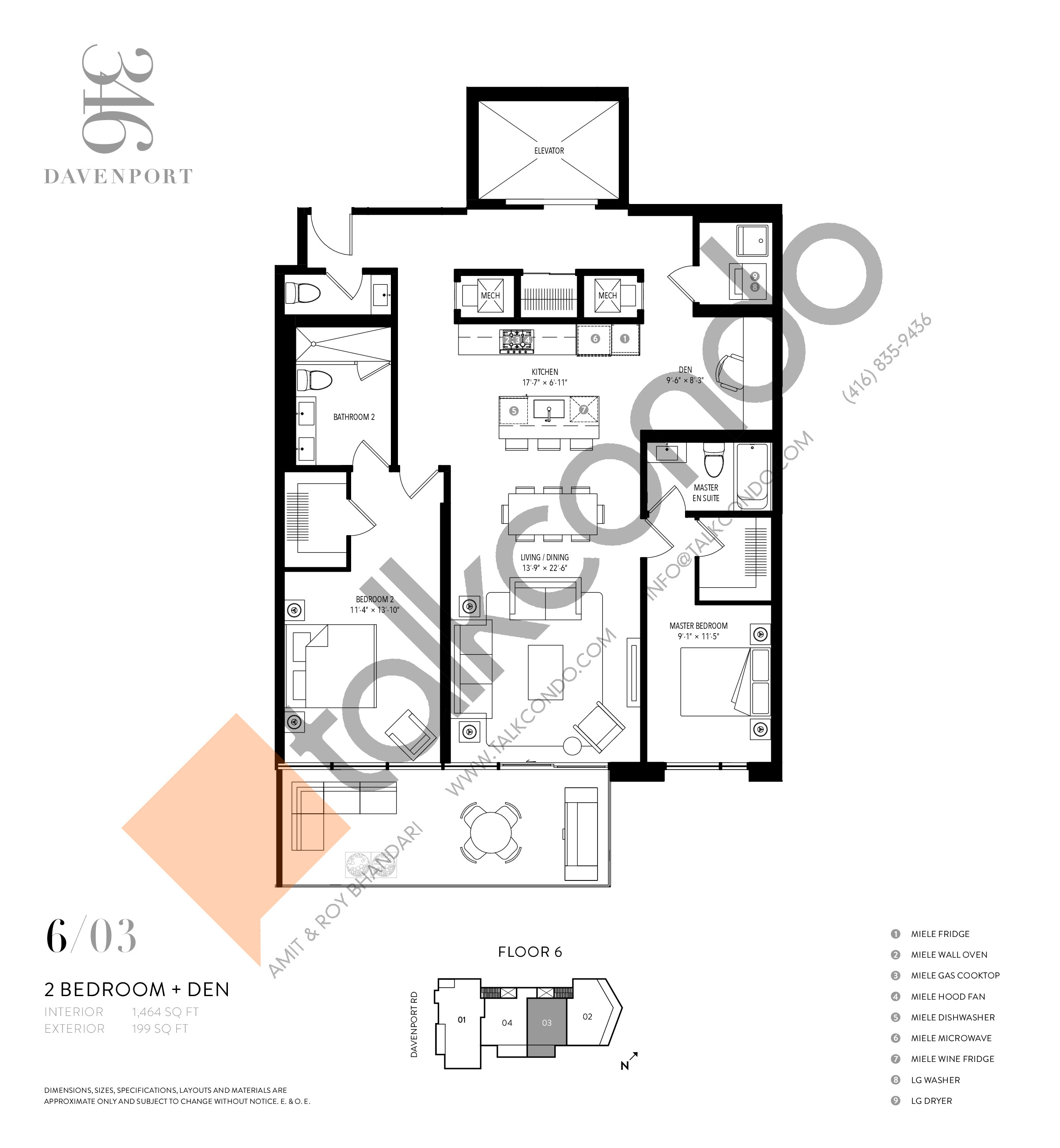 603 Floor Plan at 346 Davenport Condos - 1930 sq.ft