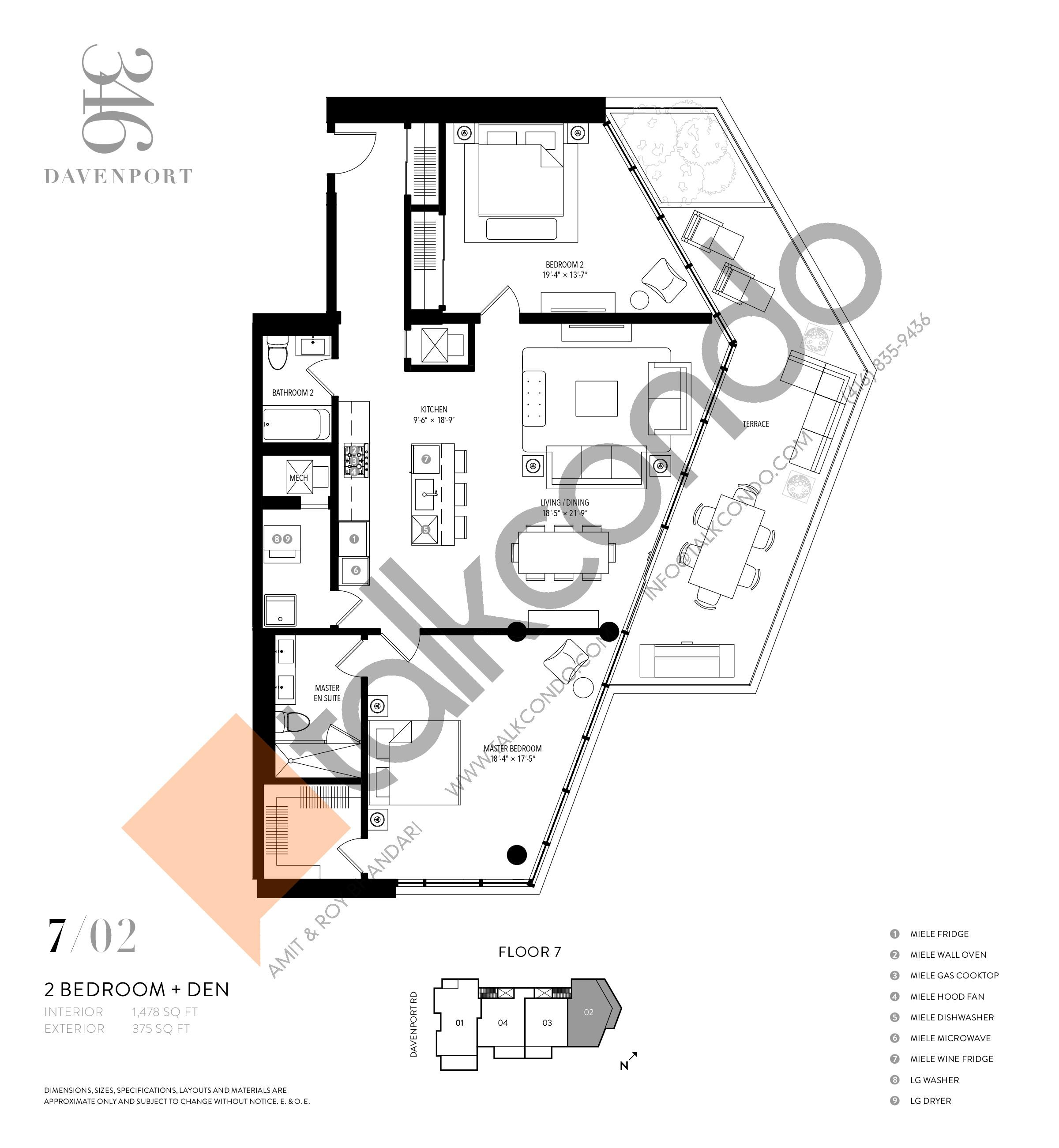702 Floor Plan at 346 Davenport Condos - 1478 sq.ft