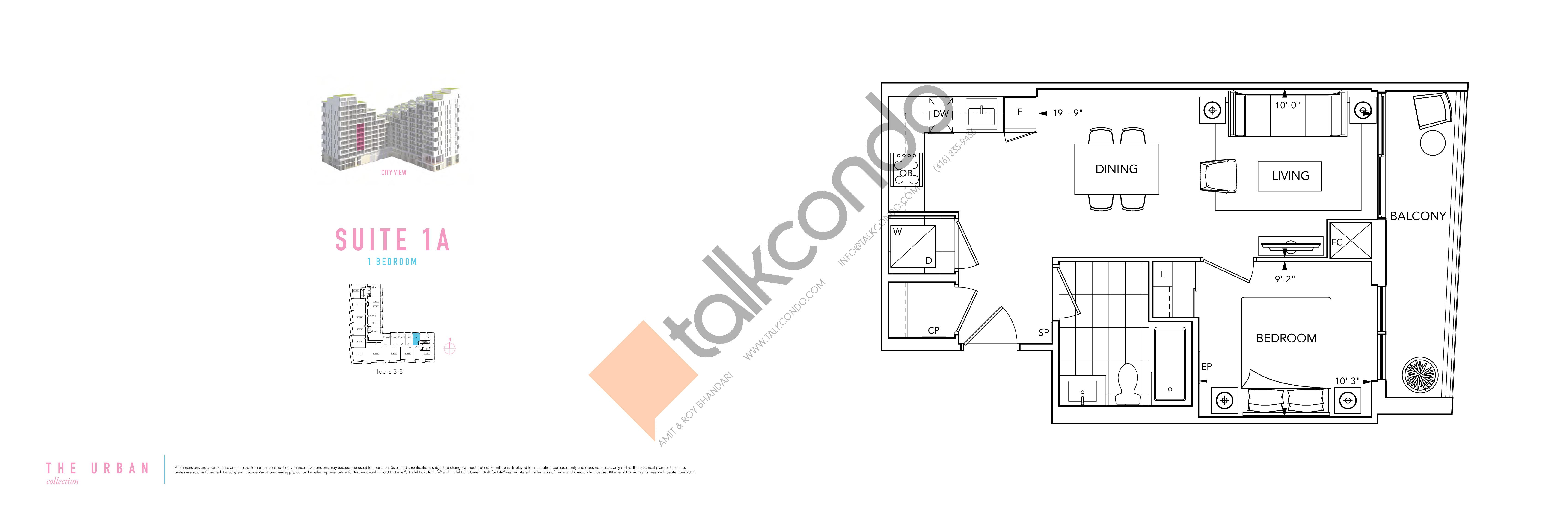 Suite 1A Floor Plan at Aquabella Condos - 562 sq.ft