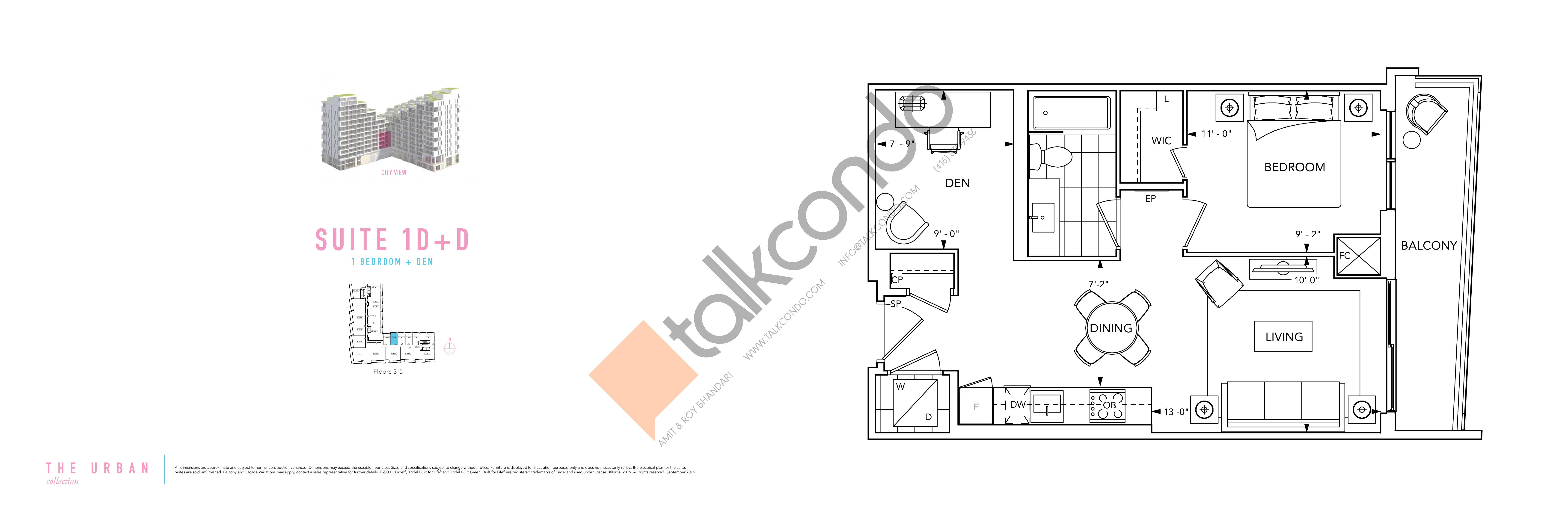 Suite 1D+D Floor Plan at Aquabella Condos - 601 sq.ft