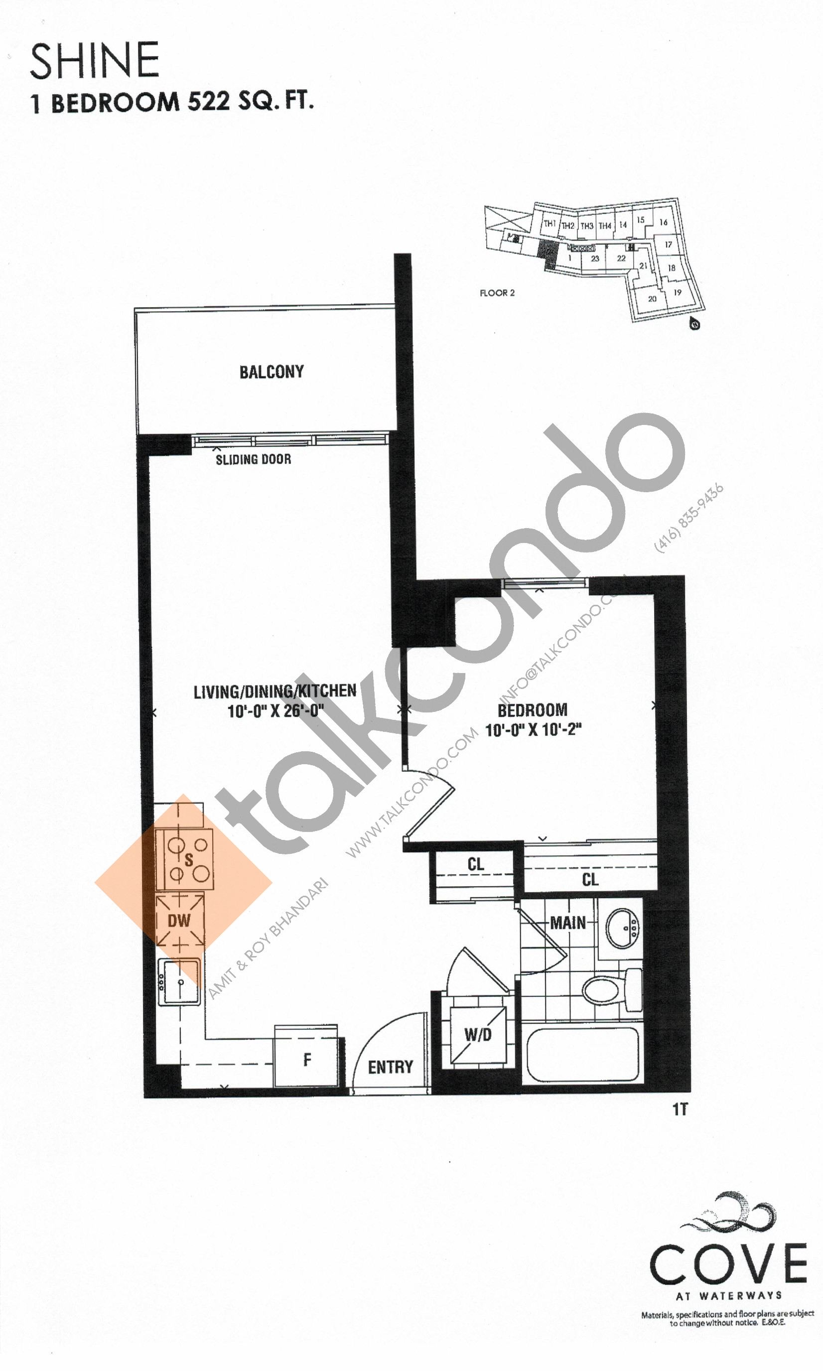 Shine Floor Plan at Cove at Waterways Condos - 522 sq.ft
