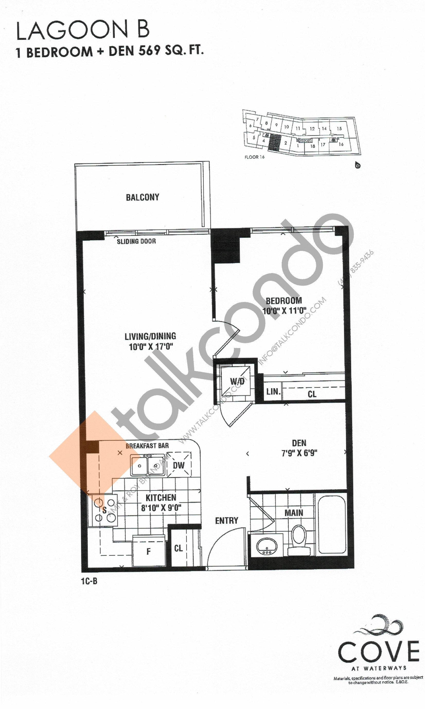 Lagoon B Floor Plan at Cove at Waterways Condos - 569 sq.ft
