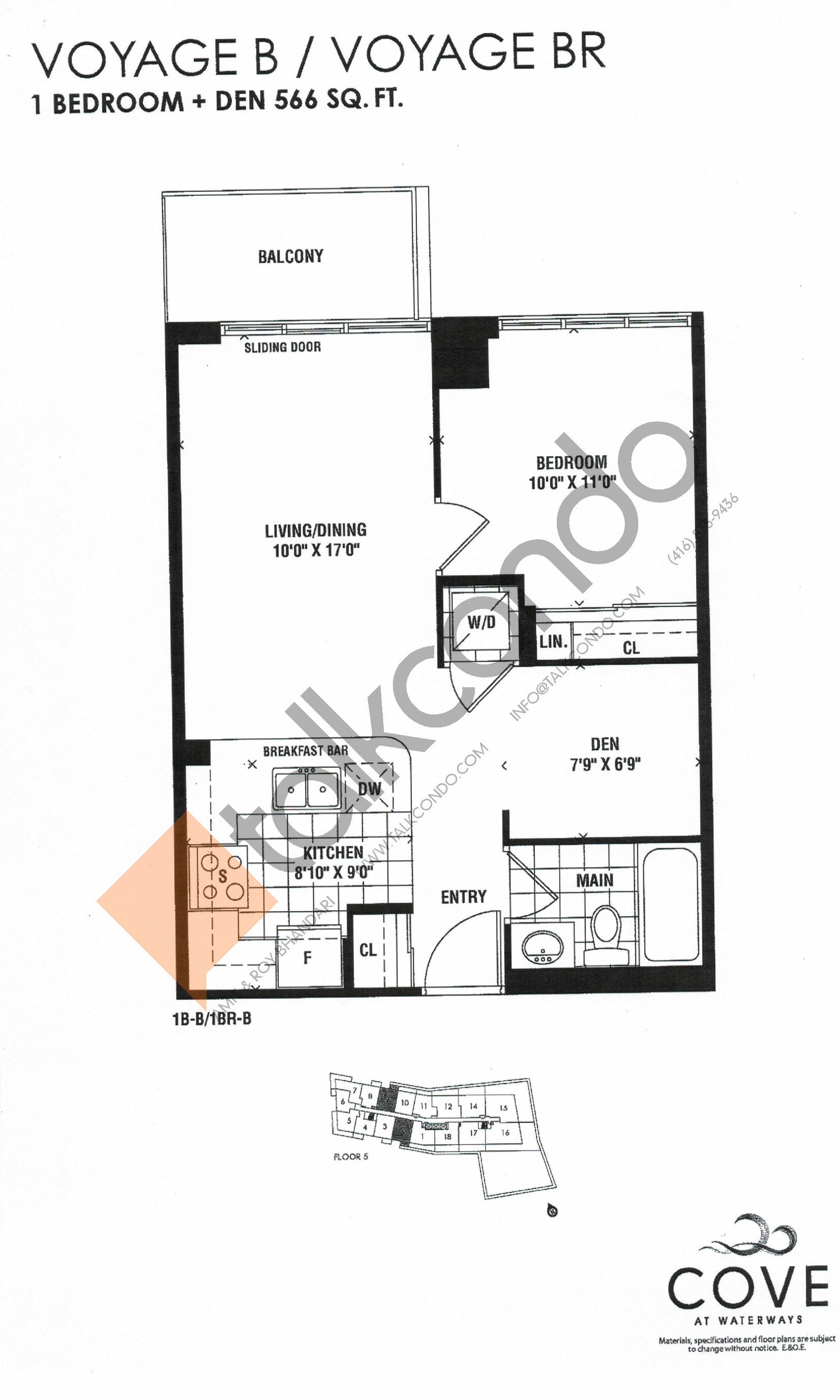 Voyage B / Voyage BR Floor Plan at Cove at Waterways Condos - 566 sq.ft