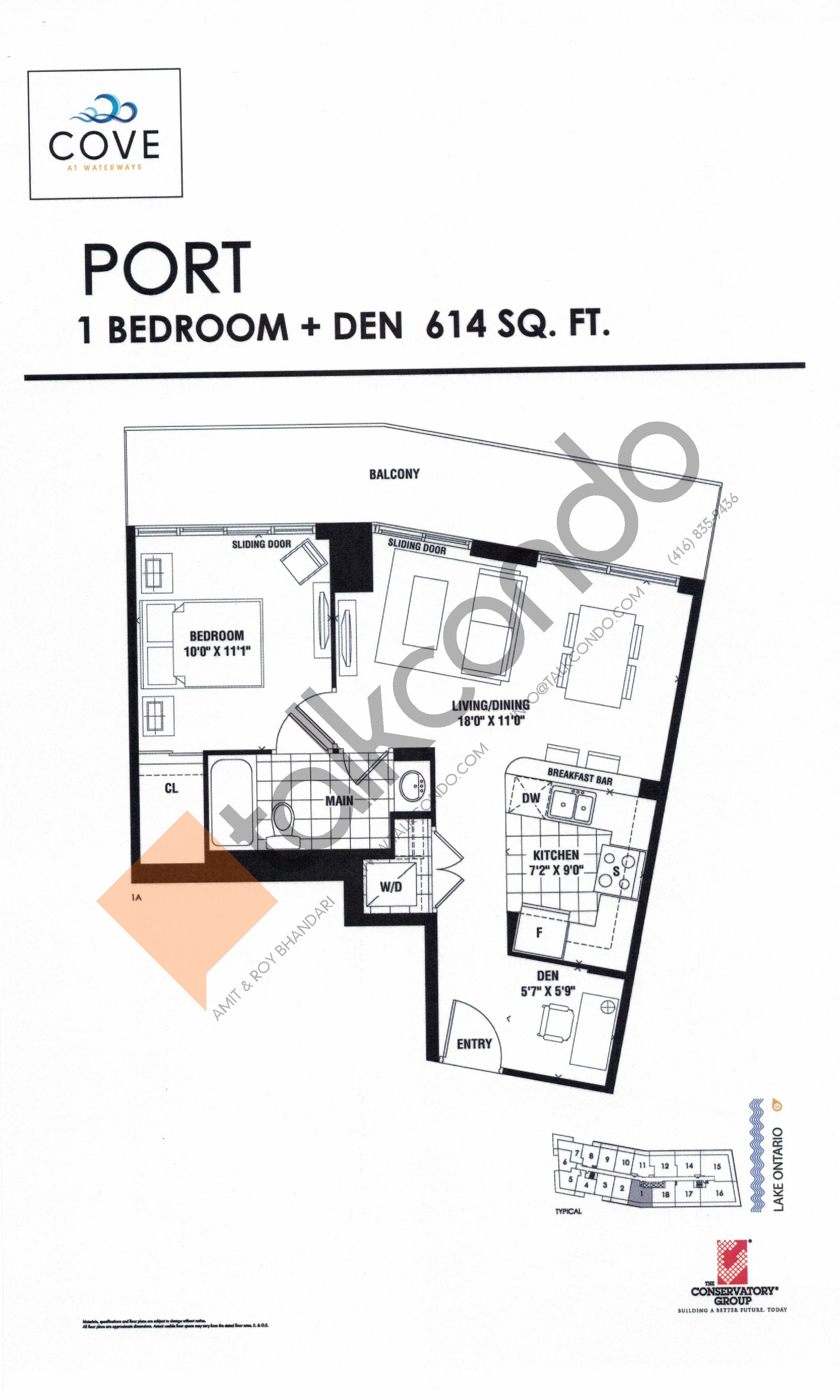 Port Floor Plan at Cove at Waterways Condos - 614 sq.ft