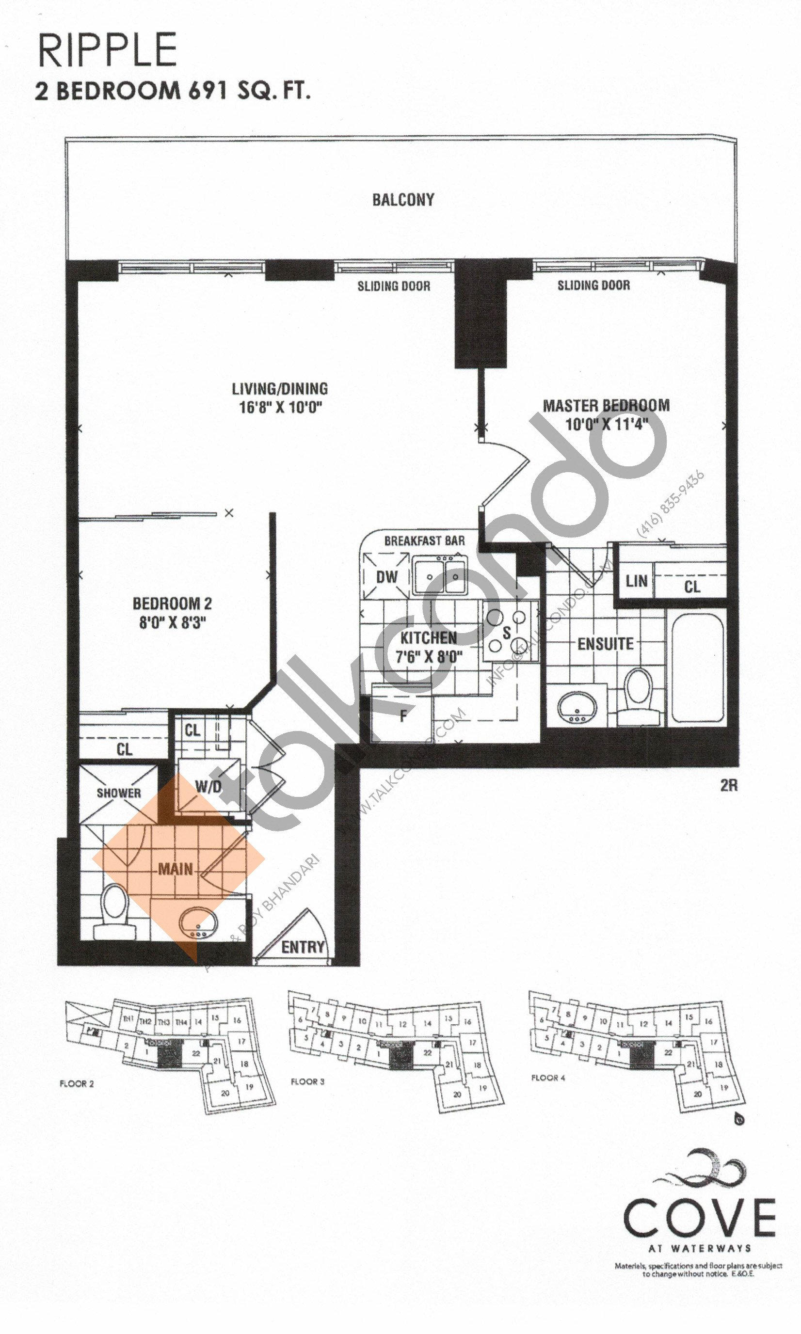 Ripple Floor Plan at Cove at Waterways Condos - 691 sq.ft