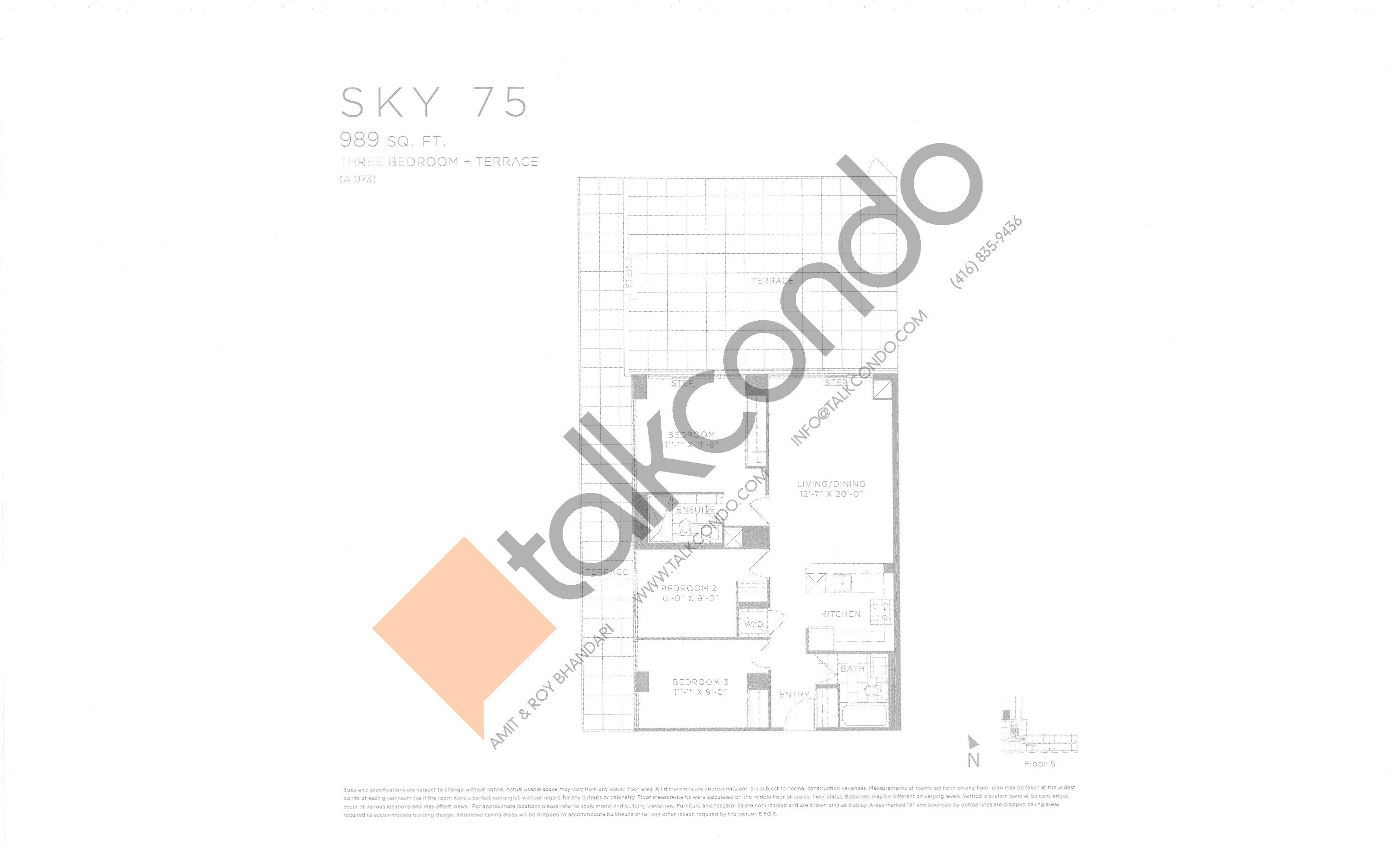 Sky 75 Floor Plan at Eau Du Soleil Condos - 989 sq.ft