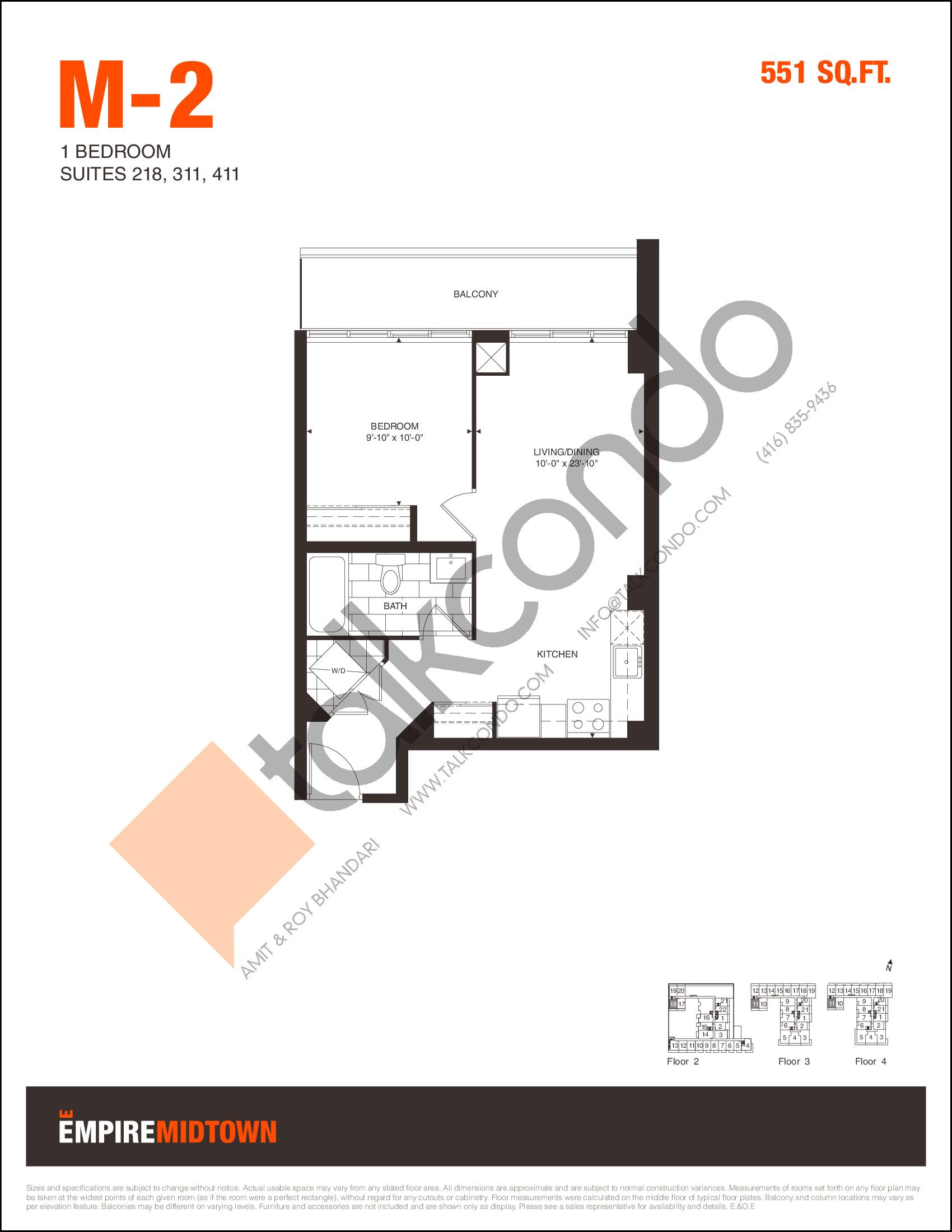 M-2 Floor Plan at Empire Midtown Condos - 551 sq.ft