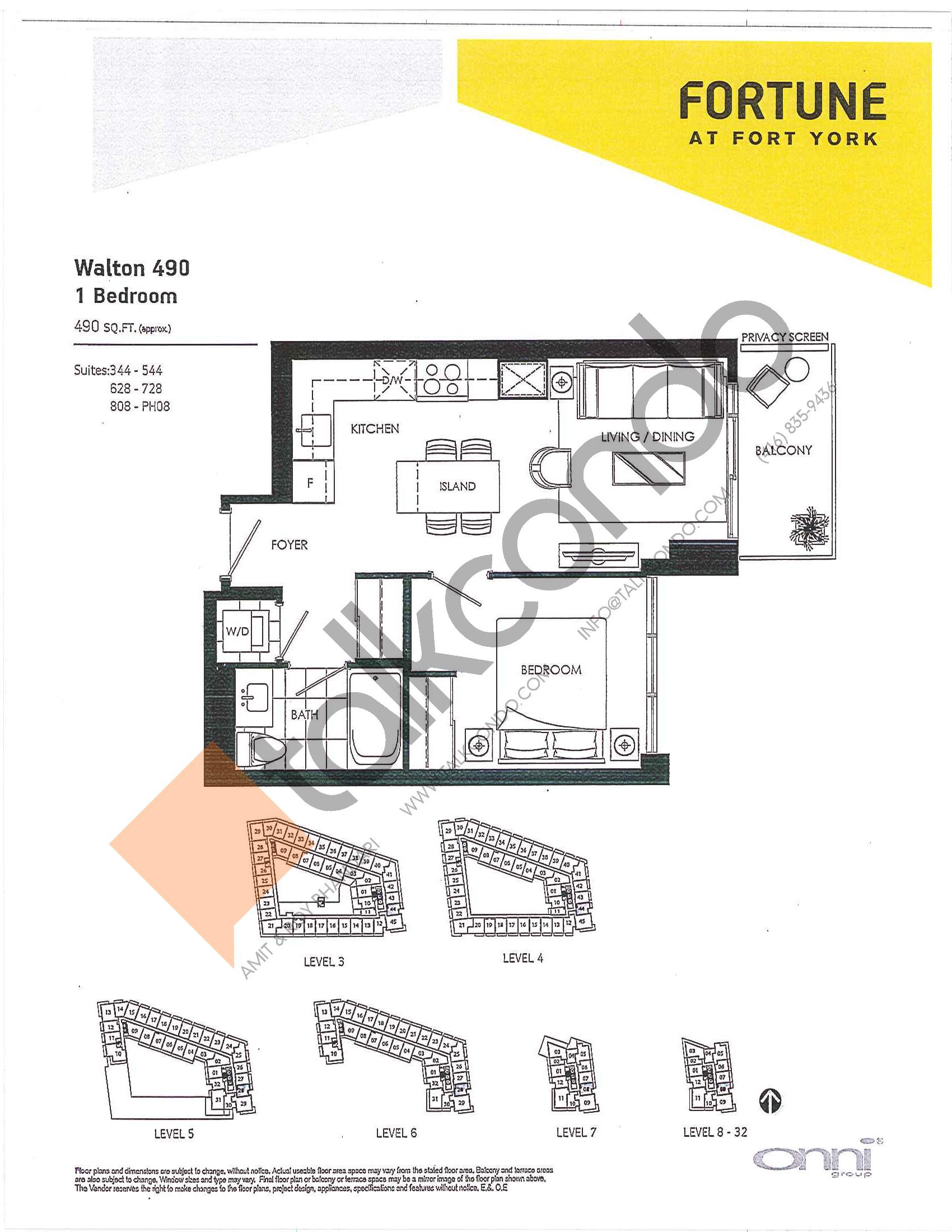 Walton 490 Floor Plan at Fortune at Fort York - 490 sq.ft