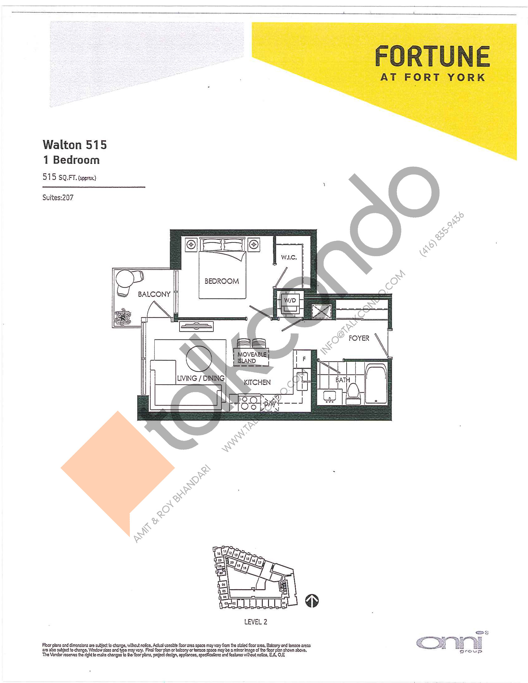 Walton 515 Floor Plan at Fortune at Fort York - 515 sq.ft