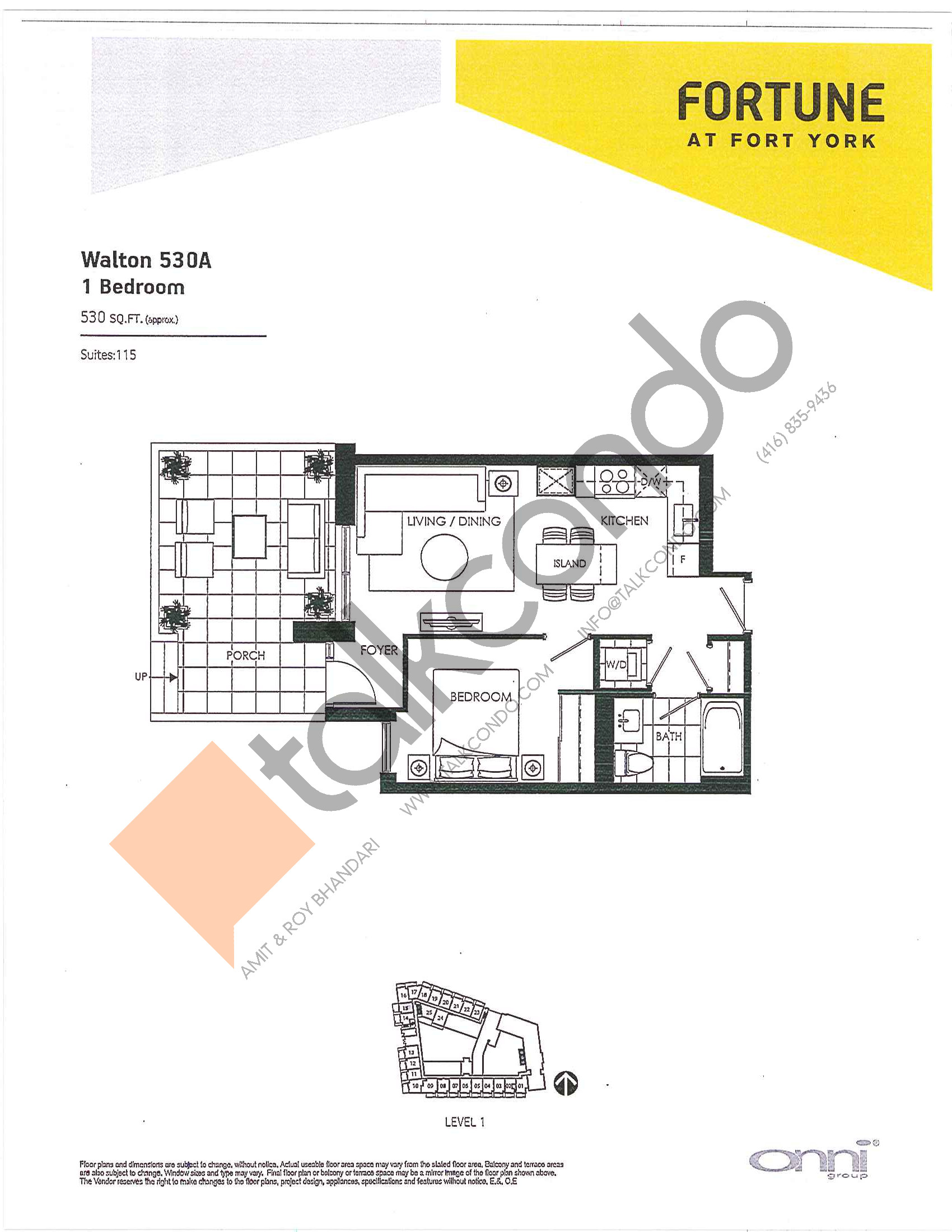 Walton 530A Floor Plan at Fortune at Fort York - 530 sq.ft