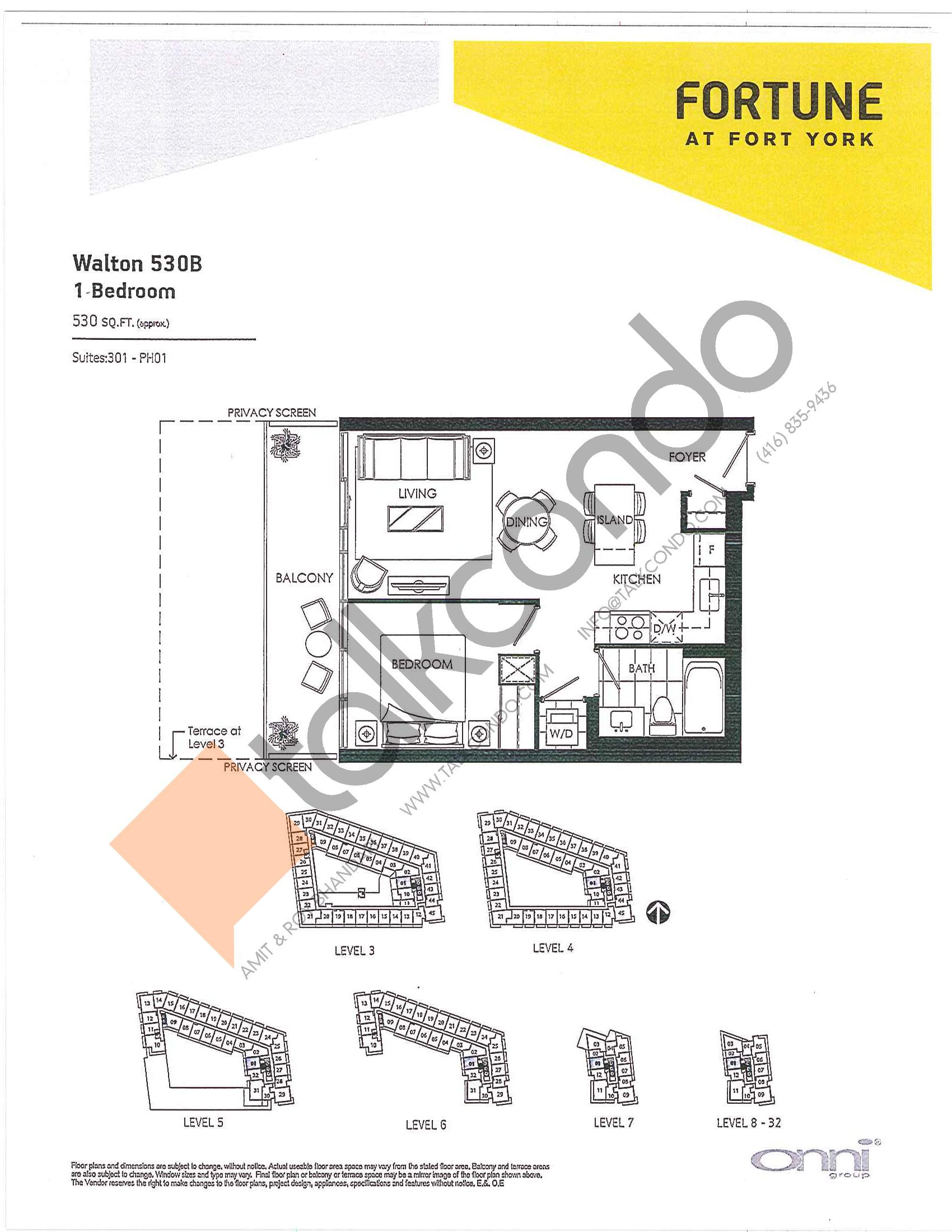 Walton 530B Floor Plan at Fortune at Fort York - 530 sq.ft
