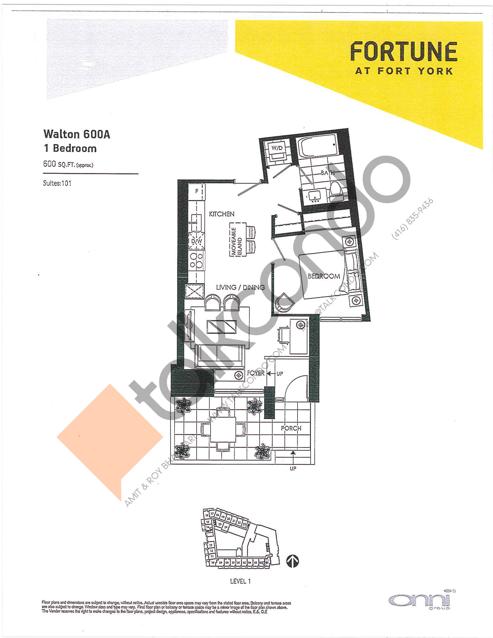 Walton 600A Floor Plan at Fortune at Fort York - 600 sq.ft