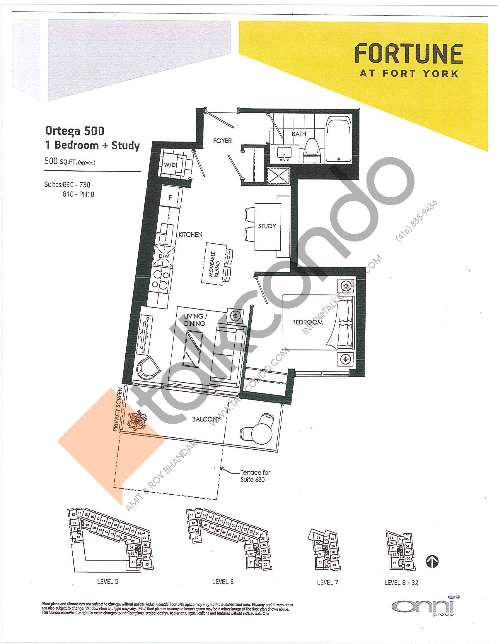 Ortega 500 Floor Plan at Fortune at Fort York - 500 sq.ft