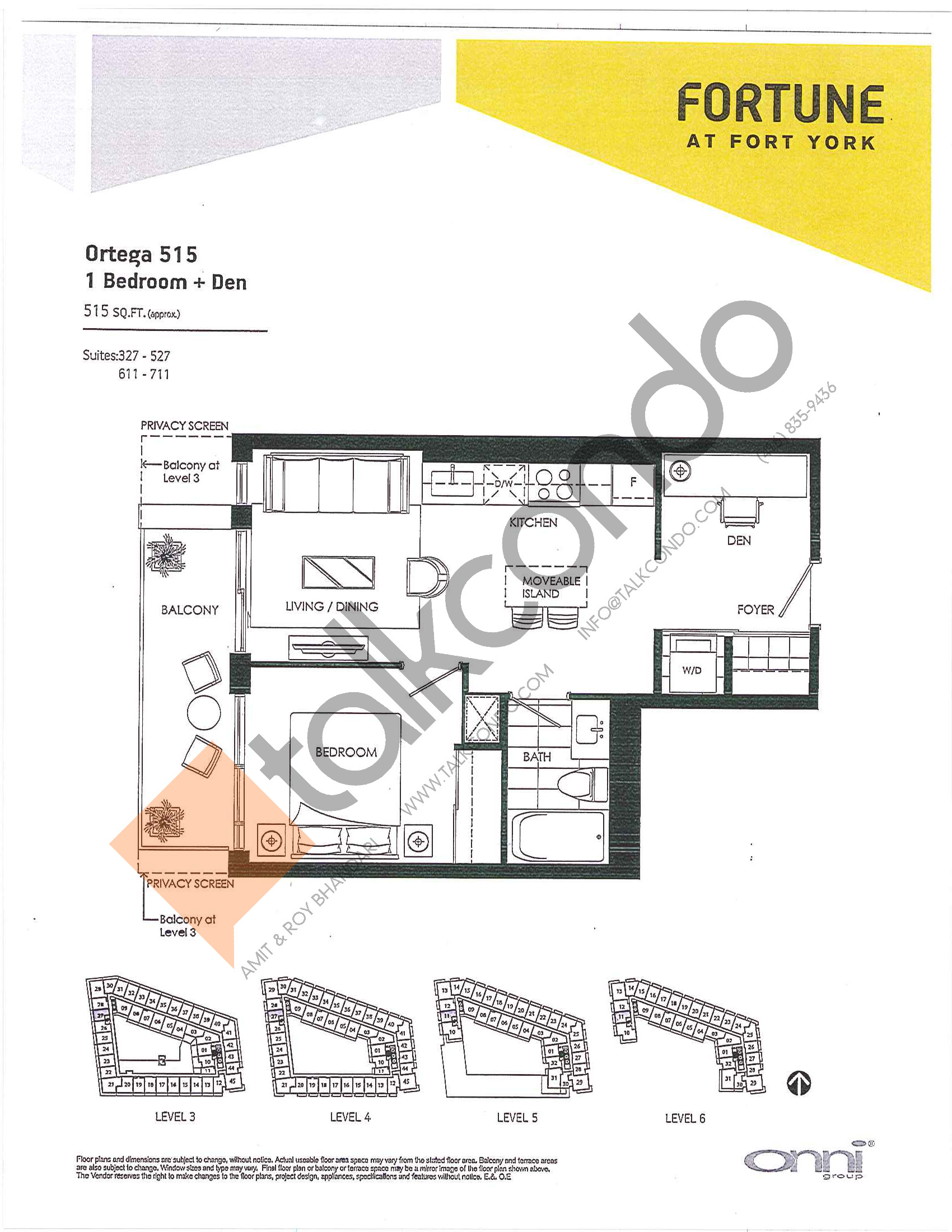Ortega 515 Floor Plan at Fortune at Fort York - 515 sq.ft