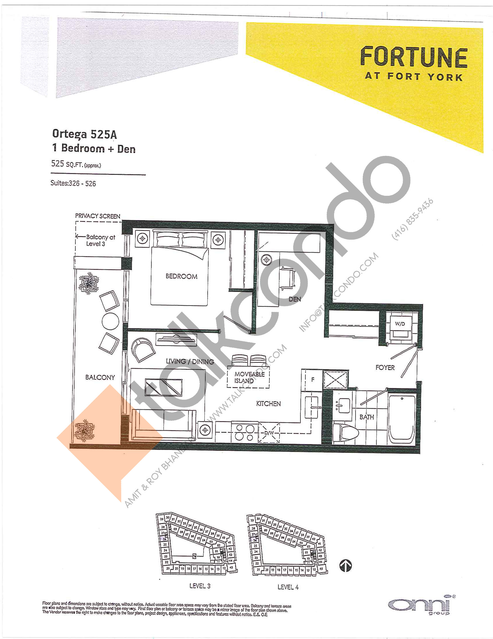 Ortega 525A Floor Plan at Fortune at Fort York - 525 sq.ft