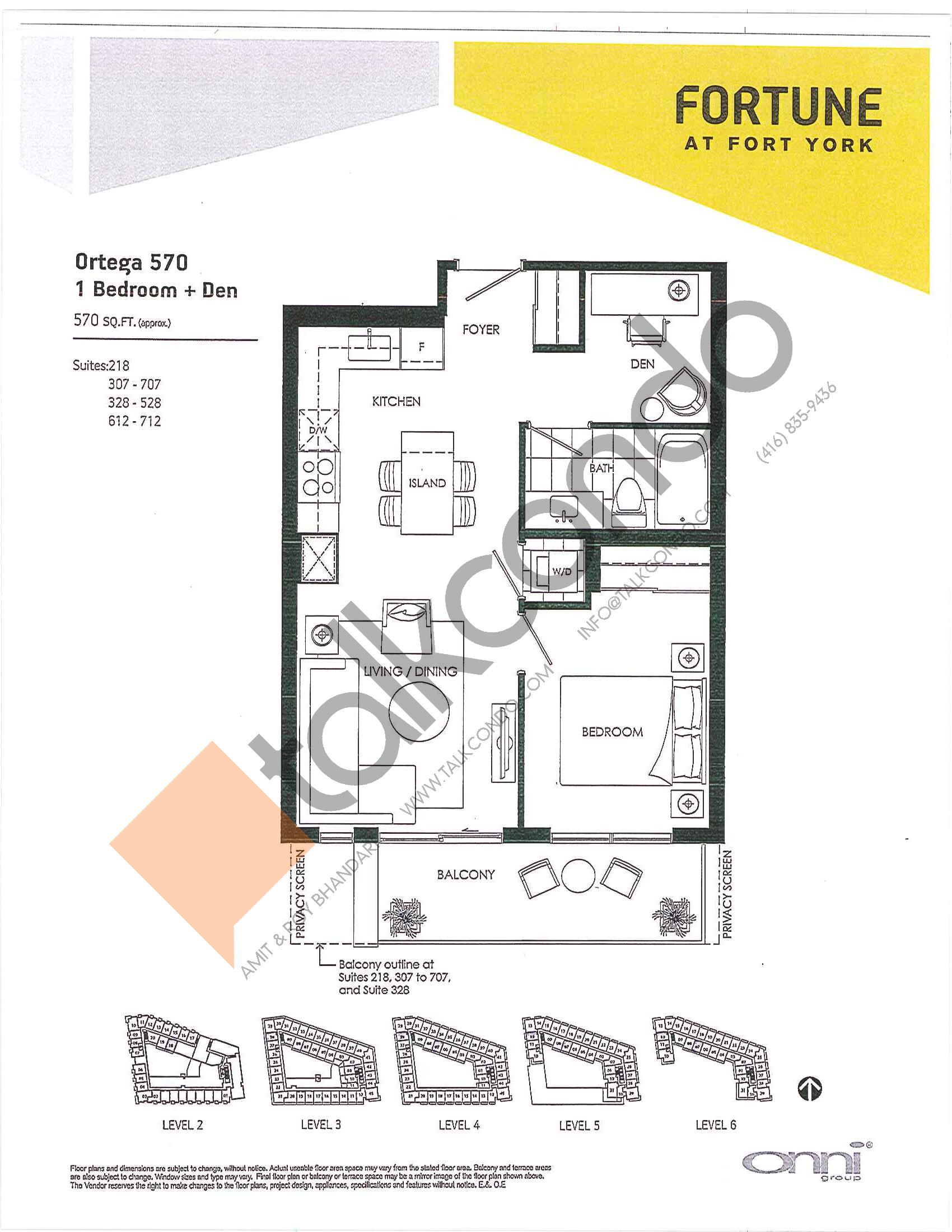 Ortega 570 Floor Plan at Fortune at Fort York - 570 sq.ft