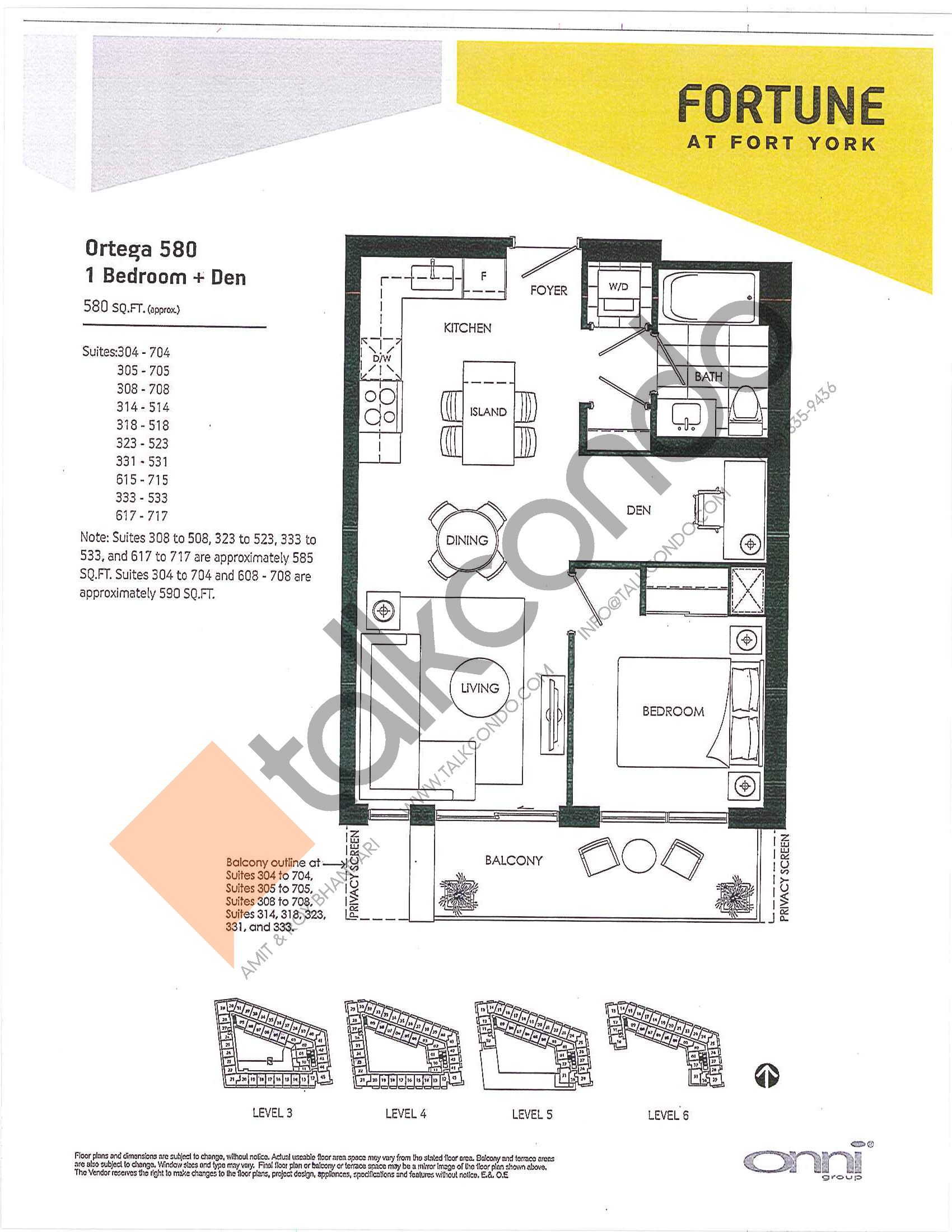 Ortega 580 Floor Plan at Fortune at Fort York - 580 sq.ft