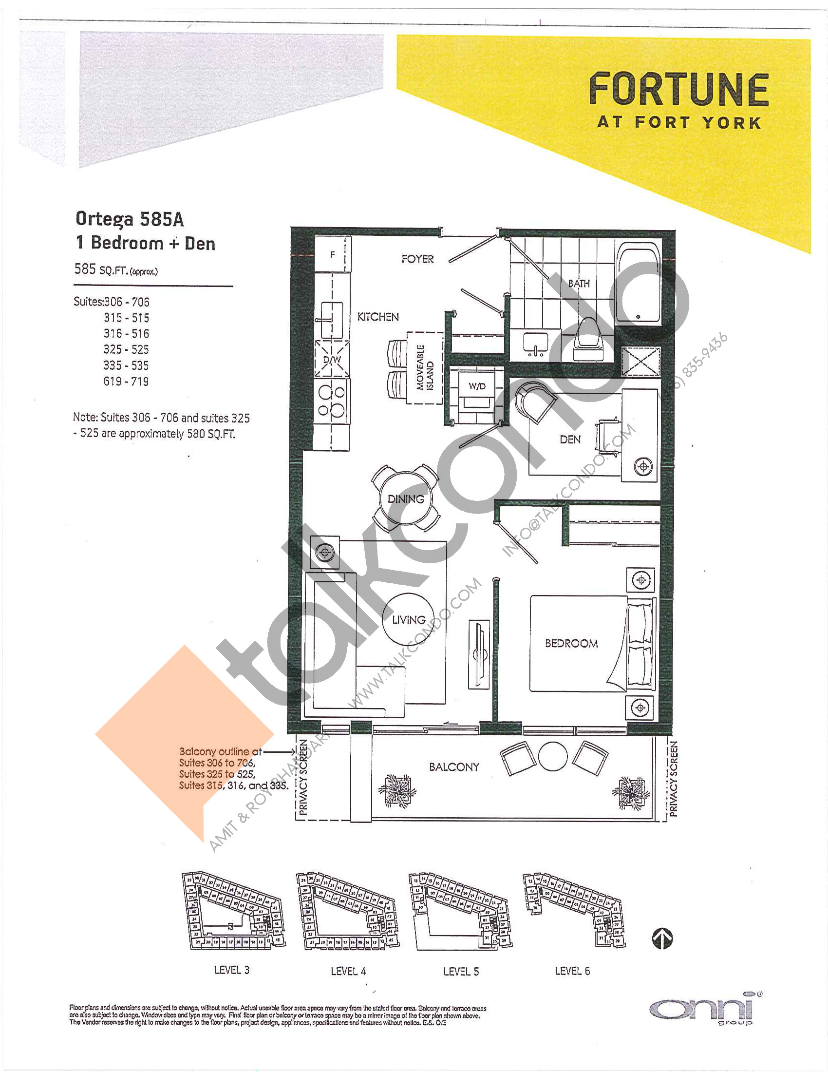 Ortega 585A Floor Plan at Fortune at Fort York - 585 sq.ft