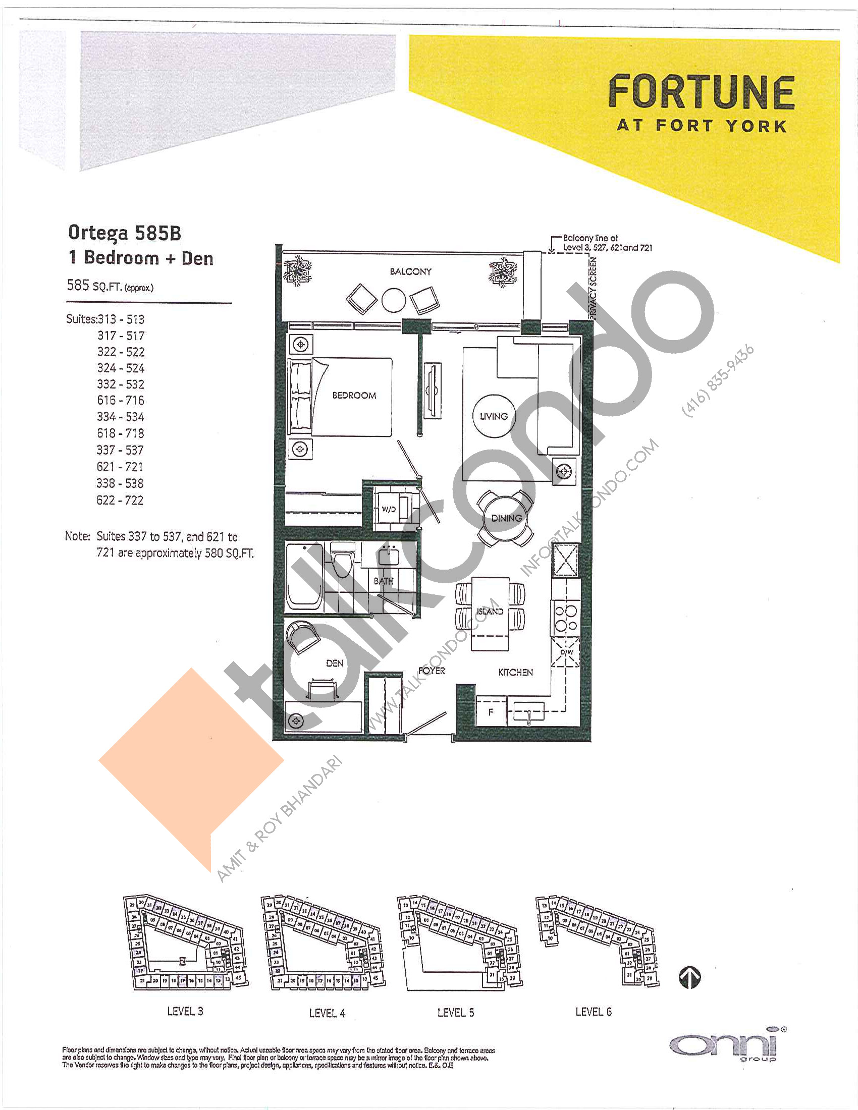 Ortega 585B Floor Plan at Fortune at Fort York - 585 sq.ft