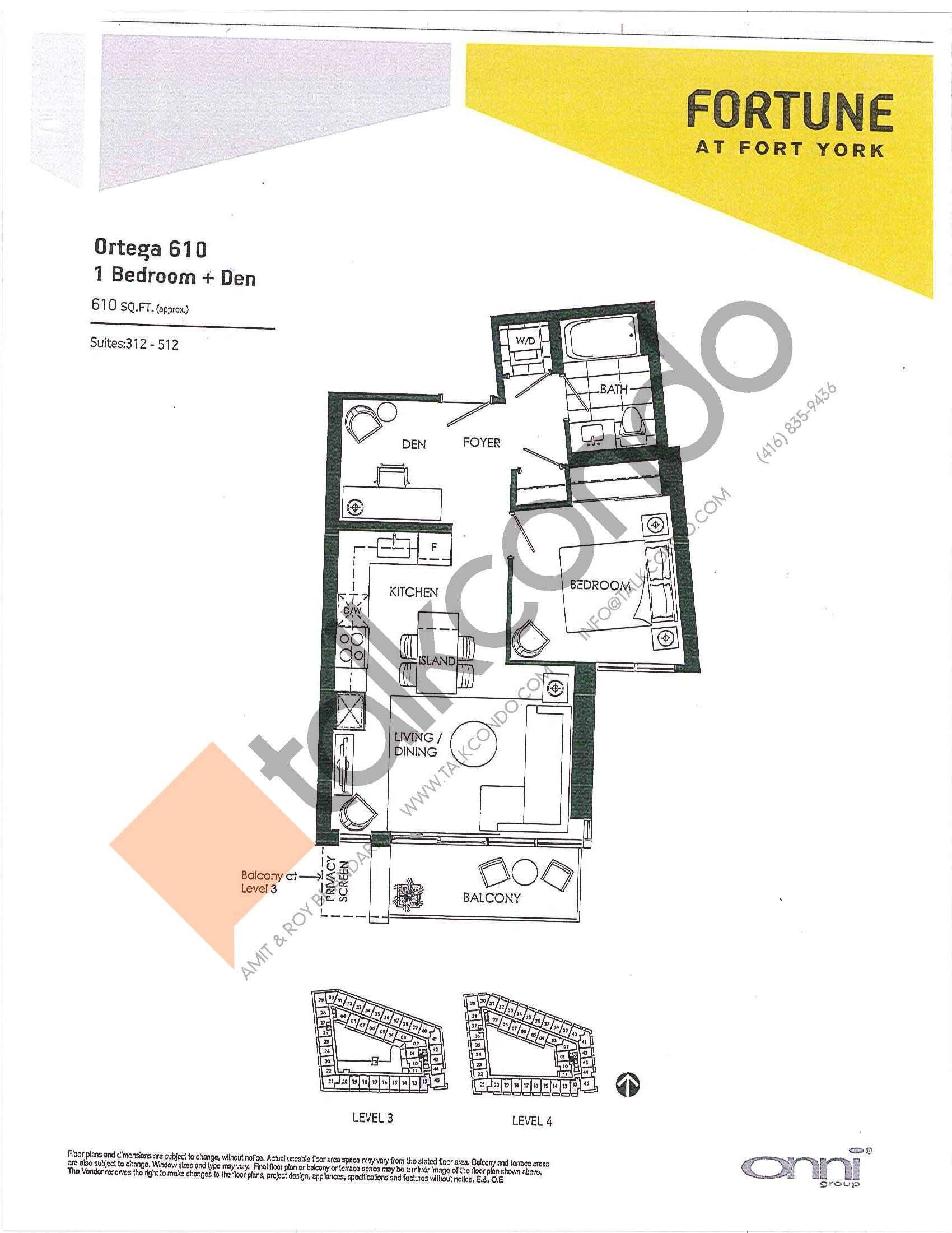 Ortega 610 Floor Plan at Fortune at Fort York - 610 sq.ft